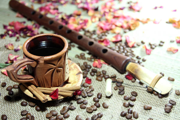 Naturmort With Cup of Coffee, Coffee Beans And Musical Instrument